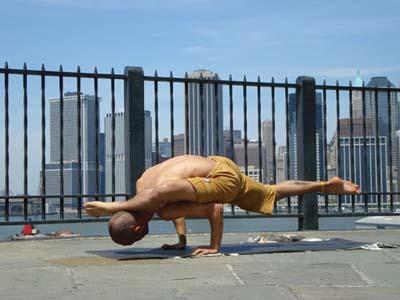 Chakorasana (variation) (Partridge Pose) Brooklyn Heights Promenade.